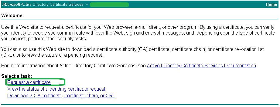 Microsoft CA - Generate Certificate 1